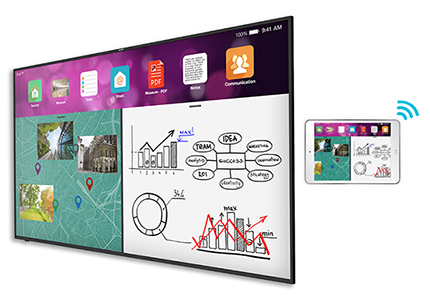 75-inch, 4K UHD display with built-in screen sharing